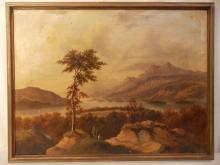 THOMAS MORAN LANDSCAPE OIL PAINTING