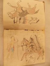 ANTIQUE PLAINS INDIAN LEDGER BOOK