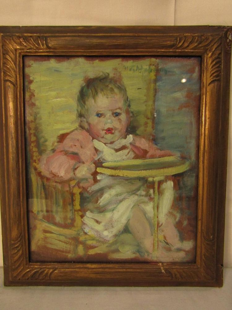 VIOLA ANDERSON OIL PAINTING OF BABY