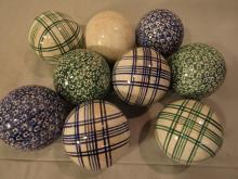 9 ANTIQUE CARPET BALLS