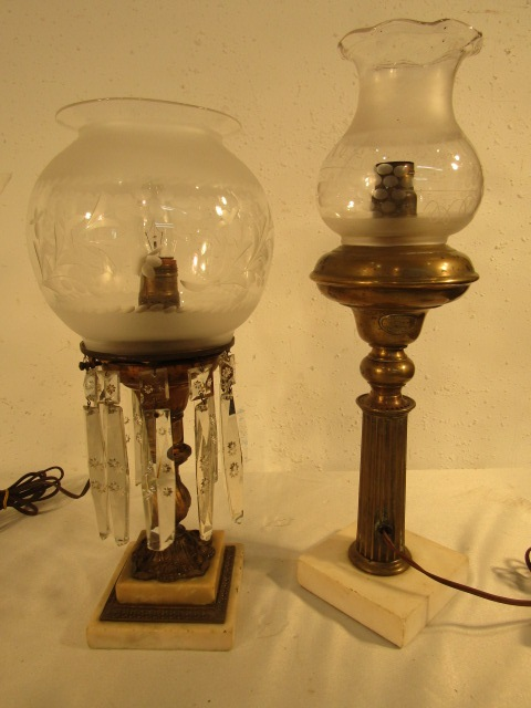 2 Antique Astral Lamps