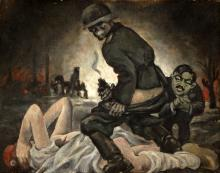 """Attrib. Victor Candell """"The Rape of France"""" Oil/CB"""
