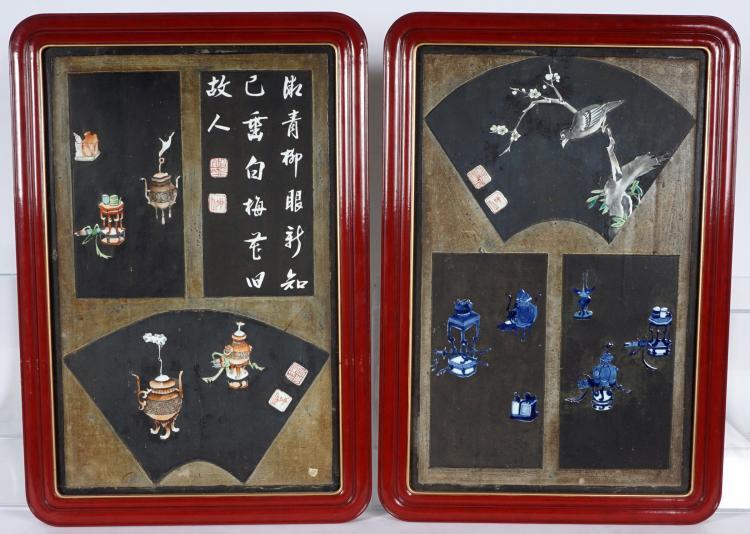 Pr Framed Chinese Enameled Porcelain Plaques