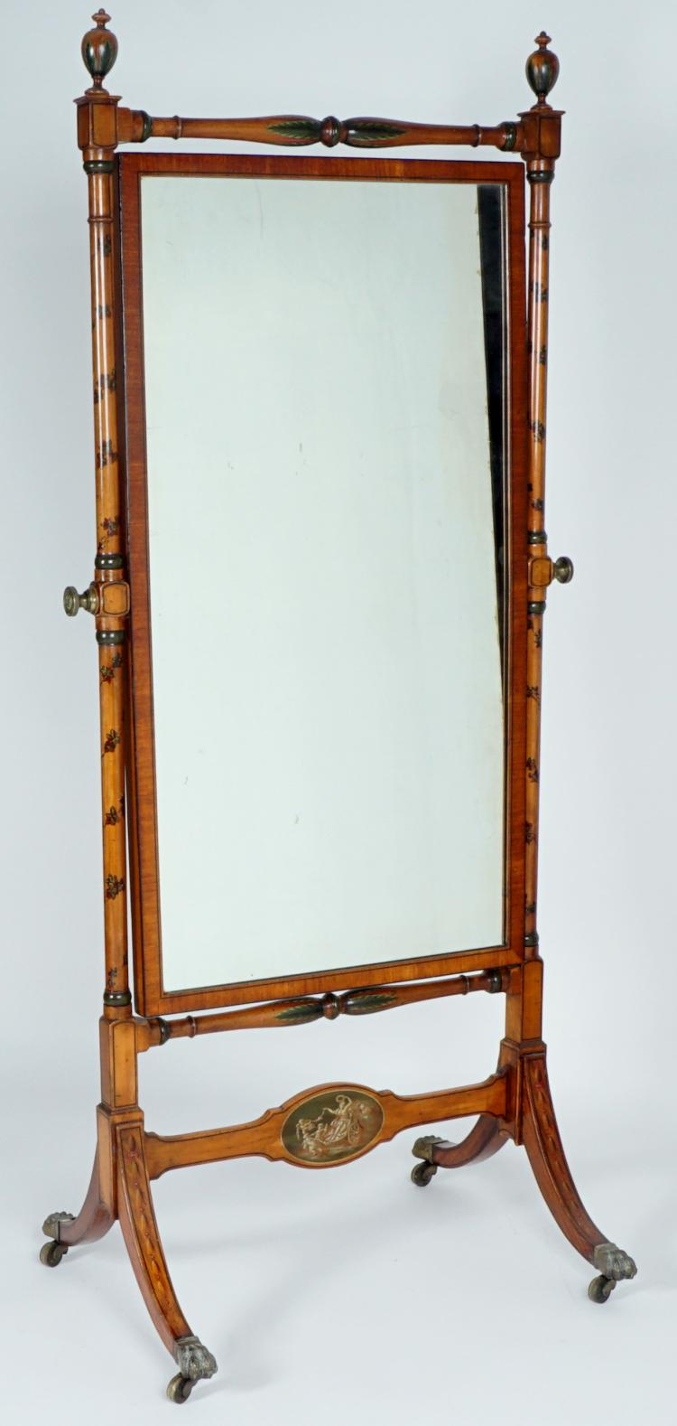 Adams Style Paint Decorated Cheval Mirror