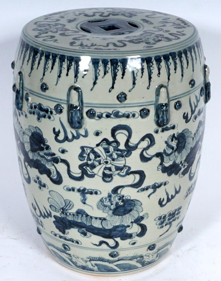 Chinese Blue & White Decorated Garden Seat