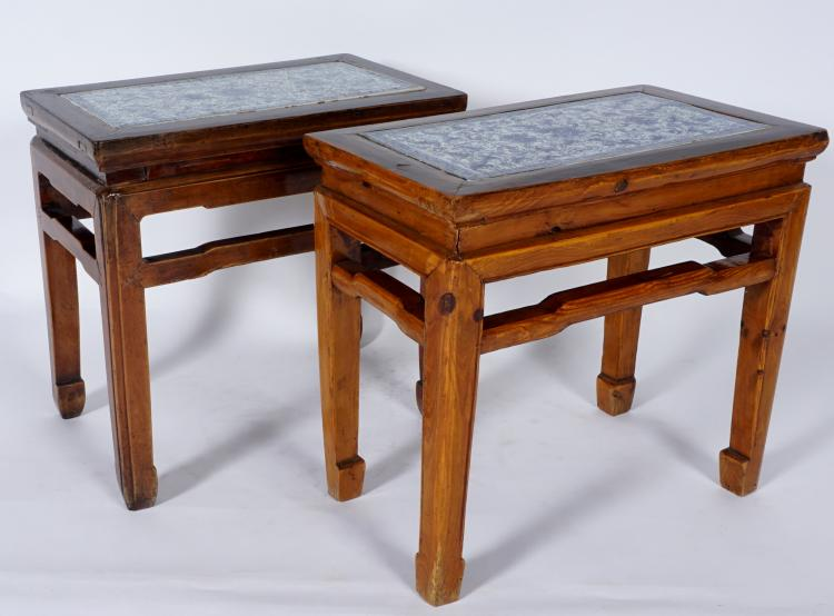 Pair 19th Century Chinese Porcelain Inset Stools