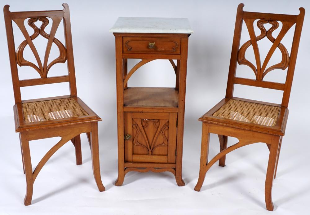 French art nouveau carved walnut bedroom suite