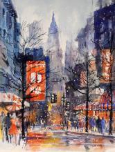 Georg Jung New York Street Scene Watercolor
