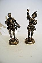 A lovely pair of silver-plated bronze sculptures, French School 19th century