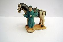 A fine polychrome 'Tang' terracotta China sculpture