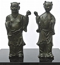 A pair of Chinese bronze sculptures
