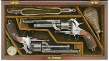 Very Fine Pair of Gold Monogrammed Lemat Revolvers by Lepage Moutier & Faure of Paris
