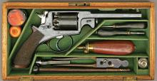 Cased Robert Adams Patent Double Action Percussion Revolver