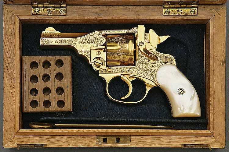 Webley & Scott Mark Iv Engraved And Gold Plated Revolver