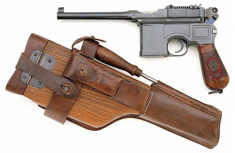 Mauser model 1896 broomhandle red 9?pistol with matching shoulder stock and holster