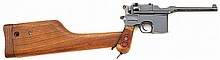 Mauser model 1896 broomhandle red nine semi-auto pistol