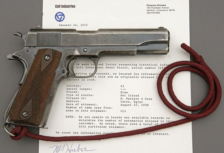 Colt Model 1911A1 Government Model Shipped to Cairo Egypt Fo