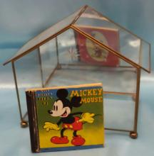 Glass Terrarium with Etching and Mirror Back and a Vintage 1938 Walt Disney Story Mickey Mouse Book