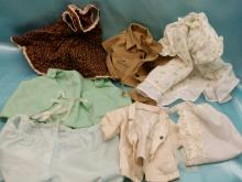 (8) pieces of Vintage Doll Clothing and Baby Bonnet
