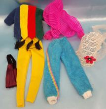 8) Pieces of Vintage Barbie/Doll Clothing and (7) pieces of doll Accessories