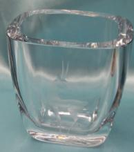 Vintage Strombergshyttan (Swedish Glass) Ice Blue Art Glass Bud Vase with a Gazelle.