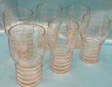 (6) Vintage Rare  Paden City Pink Glass tall Shot Glasses