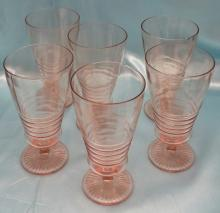 (6) Vintage Pink Glass Ribbed and Footed Ice Tea Glasses