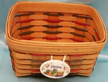1998 Longaberger Woven Traditions Recipes Basket with Tie On