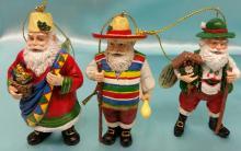 (3) Vintage Danbury Mint  Santa Around The World Christmas Ornaments