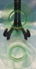 (5) Vintage Spiral Green Hocking Glass  Plates that are 8