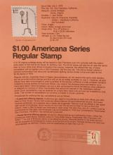 .   $1.00 Americana Series Regular Stamp