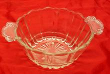 Vintage Anchor Hocking Old Cafe Clear Glass Bowl which can hold a Flower Frog and Vintage Sandwich Glass Oval Clear Glass Server Bowl