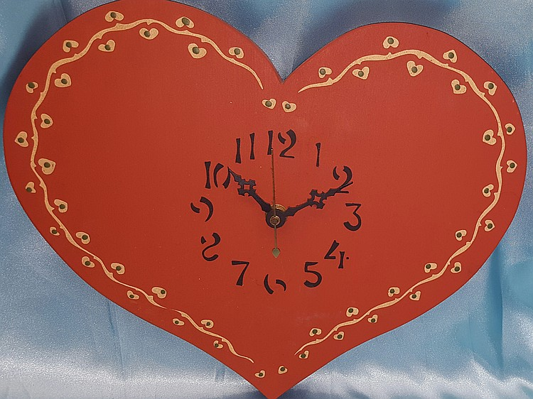 Painted Wooden Heart Clock Works