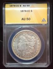 1878 Carson City Silver $ (Key Date- Valuable ) Graded AU 50