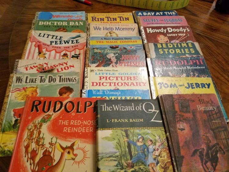 Group Lot of 20 Vintage Little Golden Books & Misc. Children's Books