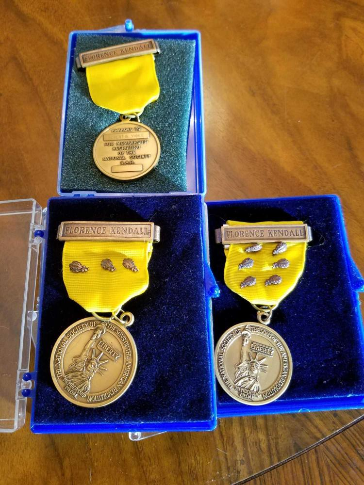 Sons of the American Revolution (SAR) Florence Kendall Membership Medals