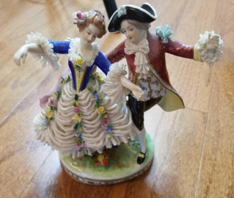 German Porcelain Dancing Couple Figurine, Possibly Dresden Volkstedt