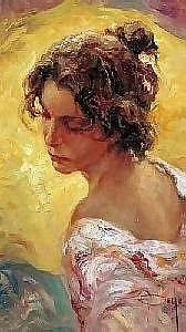 [ Oil painting ] Royo (Jose Mateu San Hilario) 17.75in. x 10.25in. ( 45 x 26cm) Girl in a pink dress Signed. See colour illustration