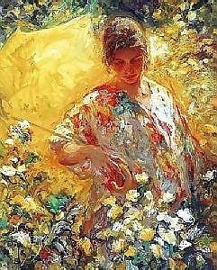 [ Oil painting ] Royo (Jose Mateu San Hilario) 26.5in. x 23.25in. ( 67 x 59cm) Girl with yellow umbrella Signed. See colour illustration