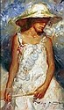 [ Oil painting ] Royo (Jose Mateu San Hilario) 17.75in. x 10.5in. ( 45 x 26.5cm) Girl with a sun-hat and parasol Signed. See colour illustration, Jose Mateu San Hilario Royo, Click for value
