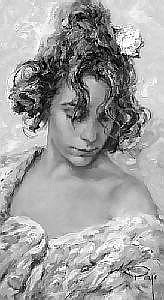 [ Oil painting ] Royo (Jose Mateu San Hilario) 17.75in. x 10.25in. ( 45 x 26cm) Girl with flowers in her hair Signed. See illustration