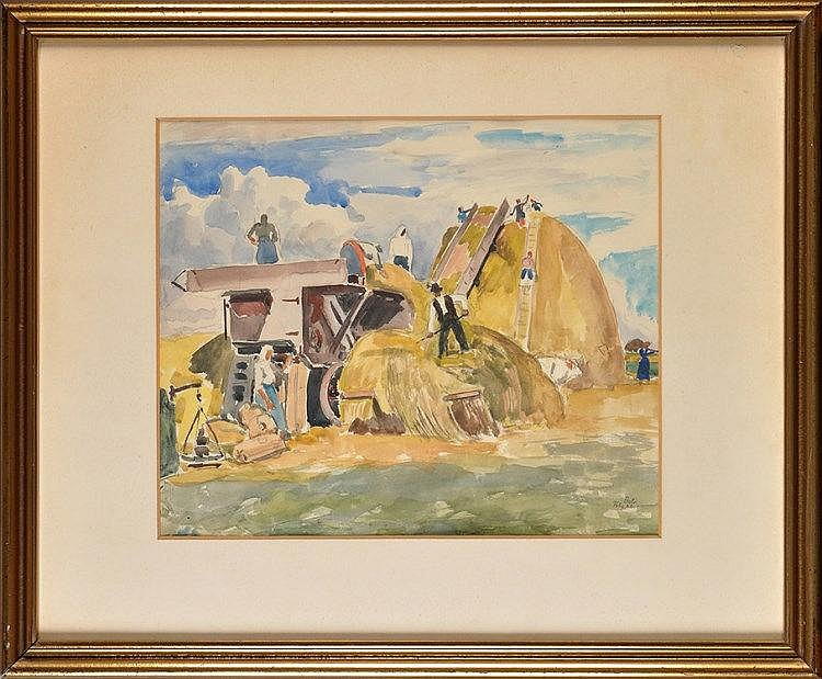 Josef Bato (Hungarian 1886-1966) FARM WORKERS BUILDING A HA