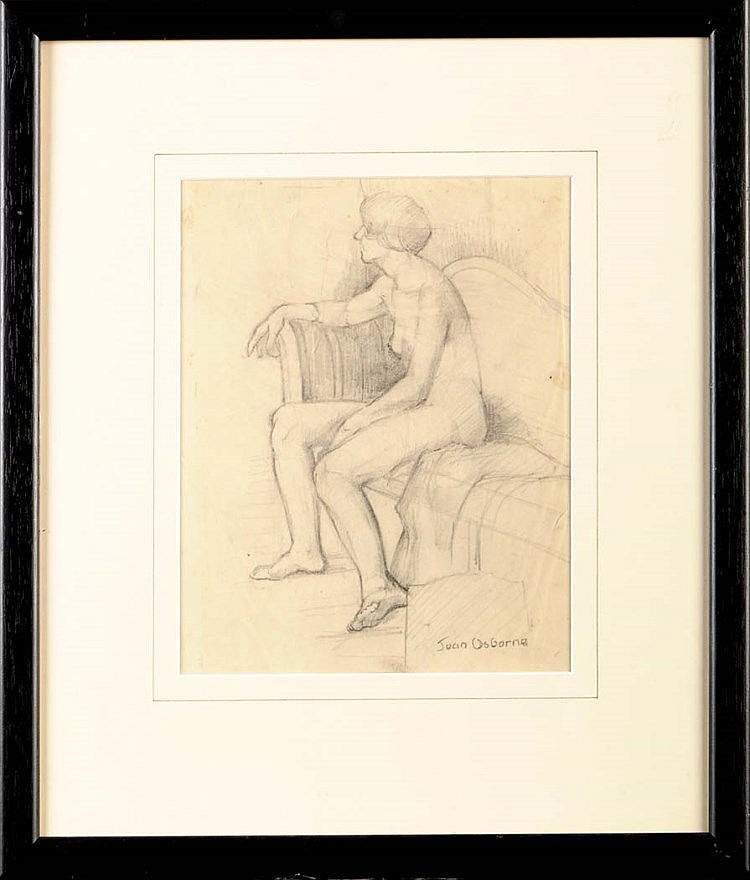 Jean Osborne FEMALE NUDE signed pencil 25.5 x