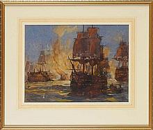 """J*** Edgar Mitchell (1871-1922) """"BATTLE OF THE NILE: BLOWING UP OF L'ORIENT & COMPLETION OF VICTORY AT MIDNIGHT"""" signed; inscribed verso watercolour 28.5 x 37.7cms; 11 1/4 x 14 3/4in."""