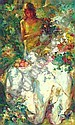 Jose Royo 24in x 14 3/4in. (61 x 37.5cm) A young woman laying a table with fruit and flowers in a sunlit garden Signed. See illustration and Front Cover, Jose Mateu San Hilario Royo, Click for value