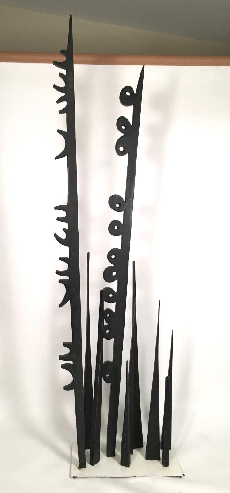 Mid-Century Modern Black Painted Metal Sculpture In the Manner of Louise Nevelson