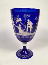 Spectacular Large Hand-Painted Italian Neoclassical Cobalt Blue Glass Vase