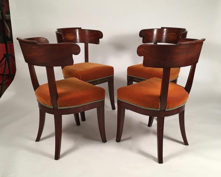 Set of Four Baltic Neoclassical Shell Inlaid Chairs