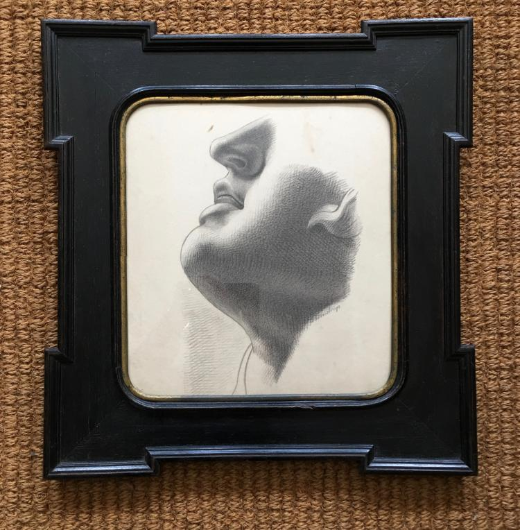 19th Century Neoclassical Framed Academic Charcoal Drawing