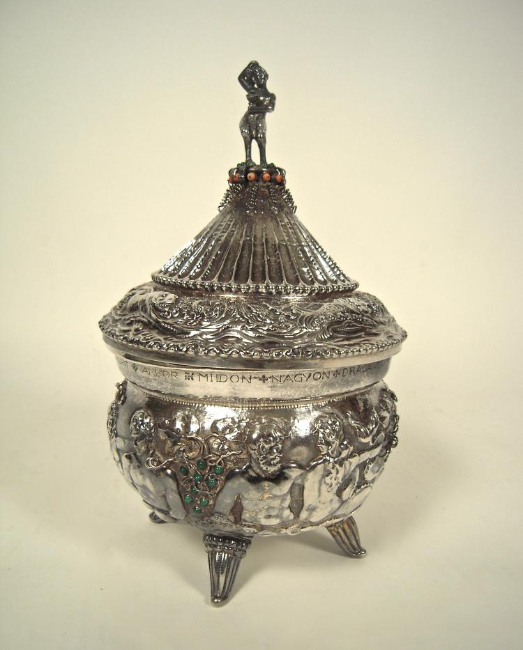 Art Deco Hungarian Jewel Encrusted Silver Tureen